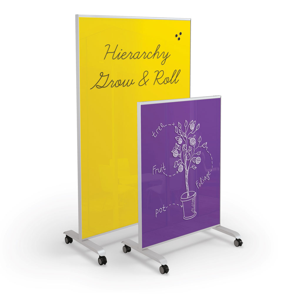 Hierarchy Grow & Roll Mobile Magnetic Glass Board
