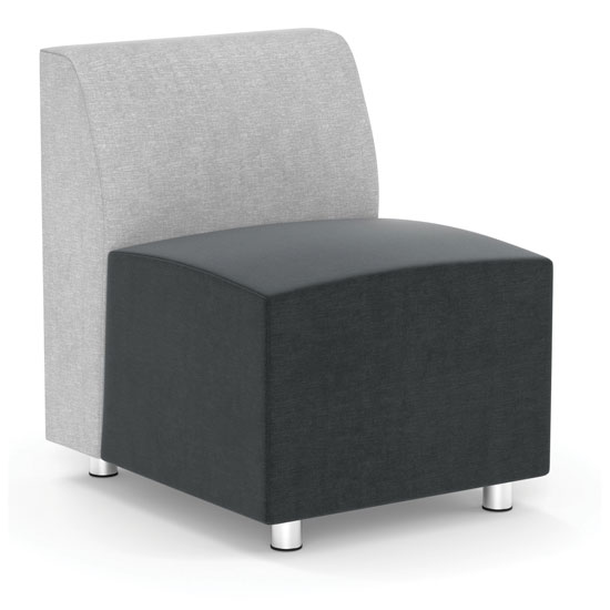 Armless Modular Chair with Silver Post Legs