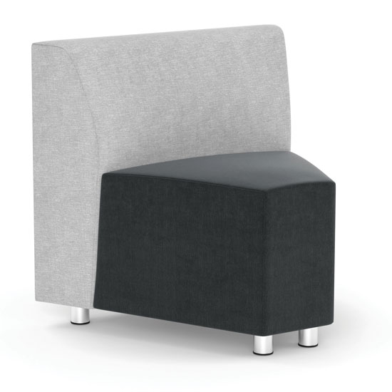 Armless Corner Modular Chair with Silver Post Legs