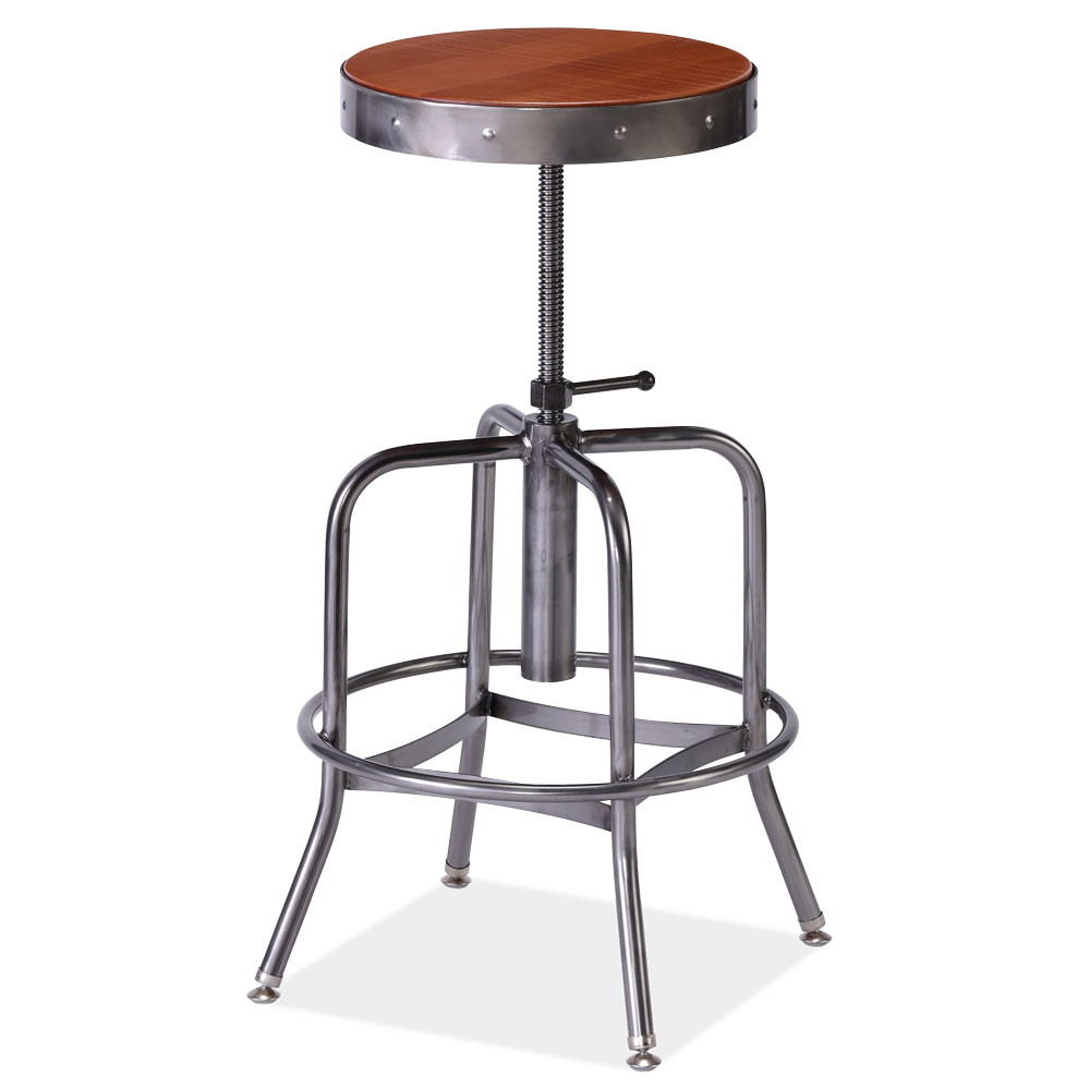 Wood Seat Adjustable Stool with Clearcoat Frame
