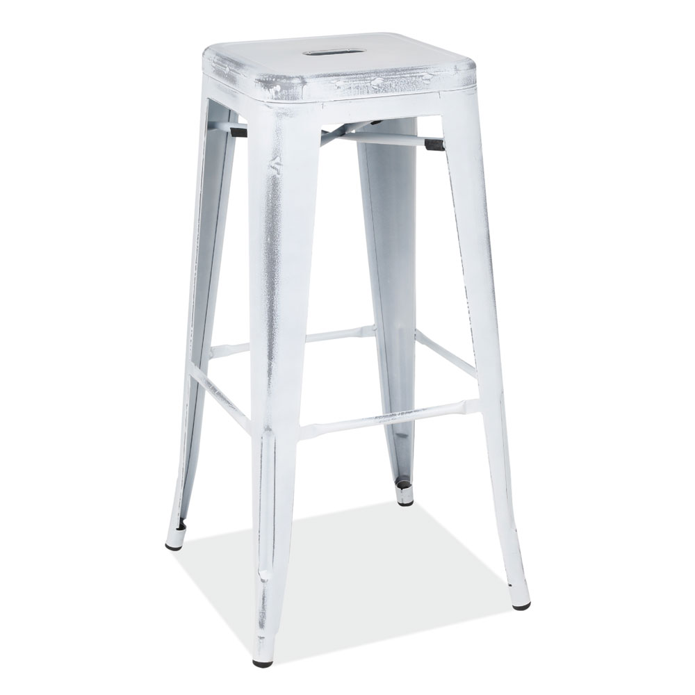 "30""H Backless Indoor/Outdoor Distressed Bar Stool"