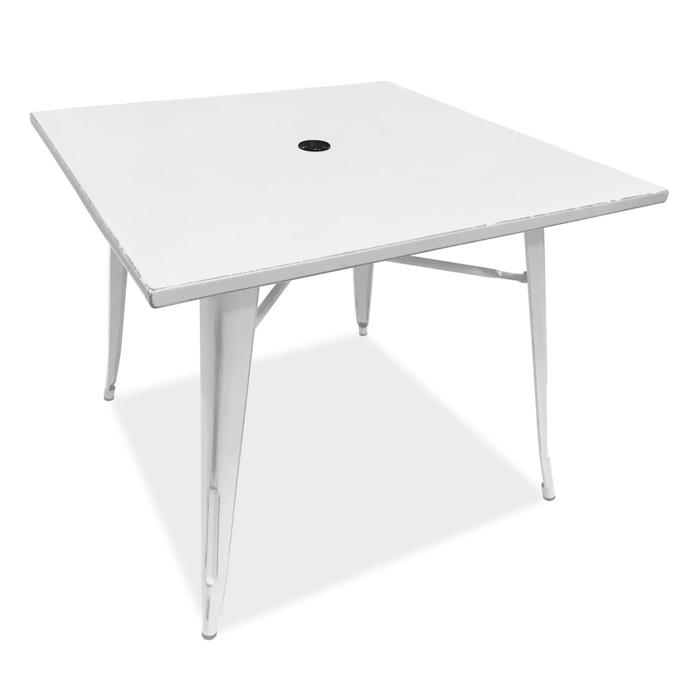 OfficeSource In-Or-Out Collection Indoor/Outdoor Distressed Dining Table With Umbrella Hole