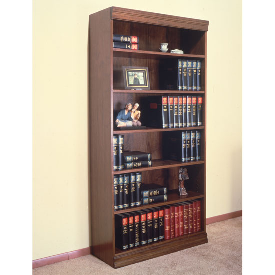 Jefferson Traditional Wood Veneer Bookcase with Heavy Duty Shelves