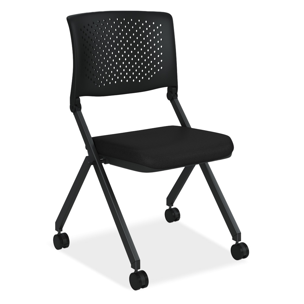 OfficeSource Julep Collection Armless Nesting Chair with Casters, Black Frame