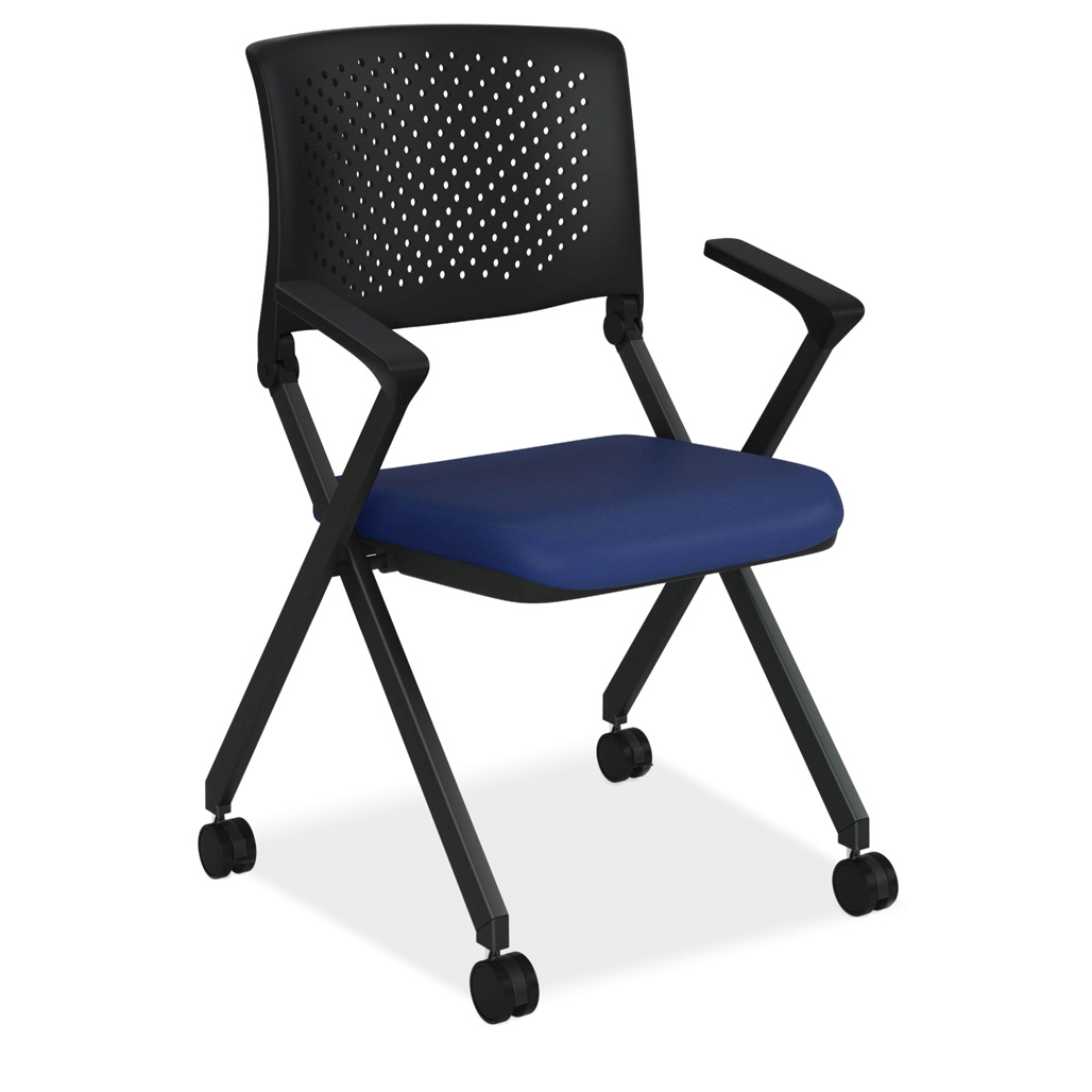 OfficeSource Julep Collection Nesting Chair with Arms and Casters, Black Frame