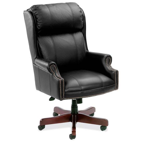 High Back Executive Swivel with Mahogany Base