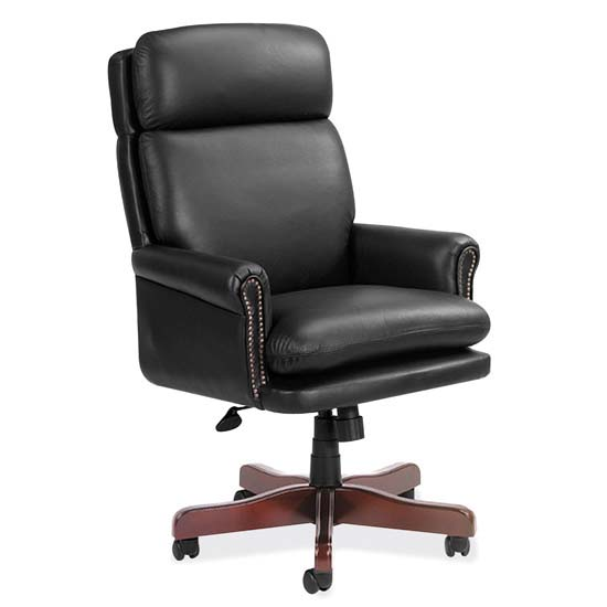 High Back Executive Swivel with Mahogany Frame