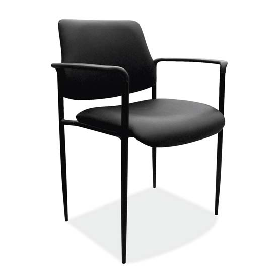 OfficeSource Levy Collection Guest Stack Chair with Arms and Black Frame