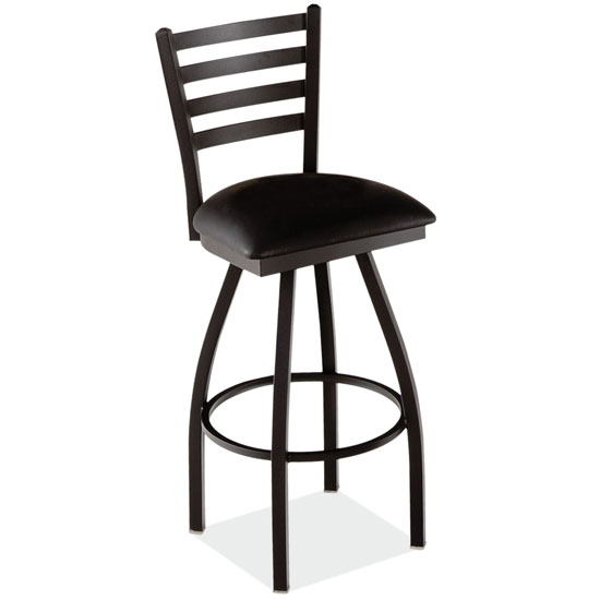 Ladder Back Swivel Barstool with Black Wrinkle Steel Frame
