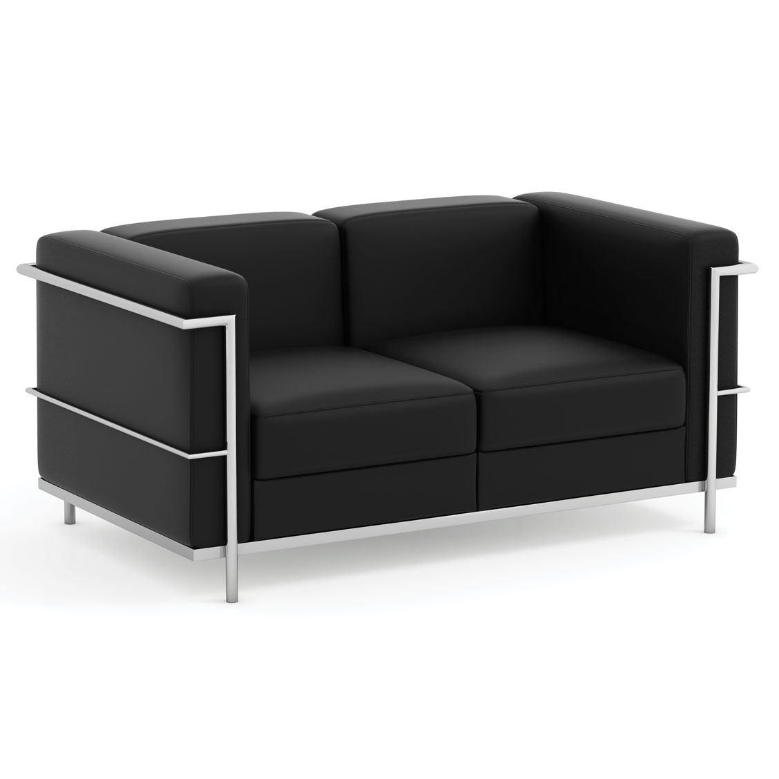 OfficeSource Madison Collection Loveseat with Chrome Exposed Frame