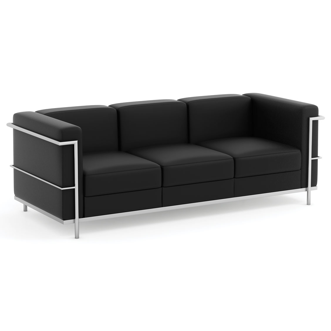 OfficeSource Madison Collection Sofa with Chrome Exposed Frame