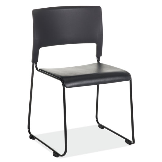 Armless Stackable Side Chair, All Black with Black Frame