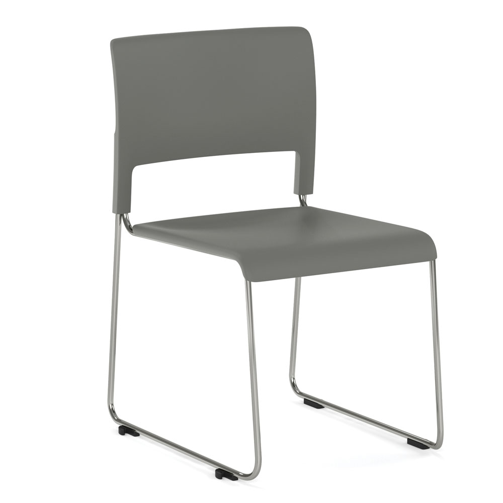 Armless Stackable Side Chair, All Charcoal with Chrome Frame