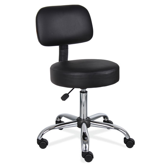 OfficeSource Medical Stools Medical Stool with Backrest and Polished Chrome Base
