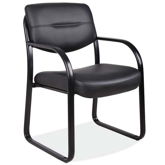 OfficeSource Merit Collection Sled Base Guest Chair with Arms and Black Frame