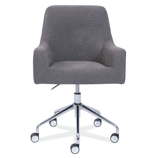 Upholstered Swivel Chair with Chrome Base