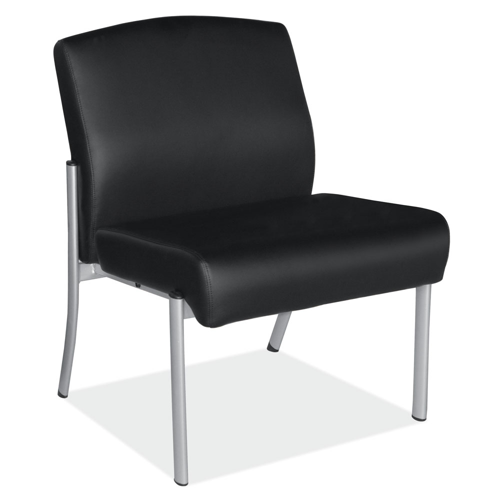 Big & Tall Armless Guest Chair With Silver Frame