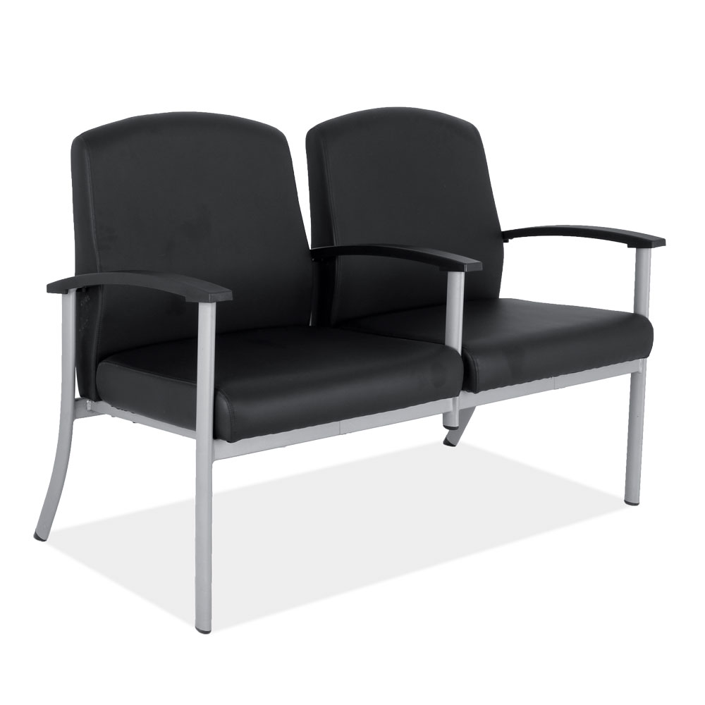 OfficeSource OS Big & Tall Collection 2 Seater with Silver Frame