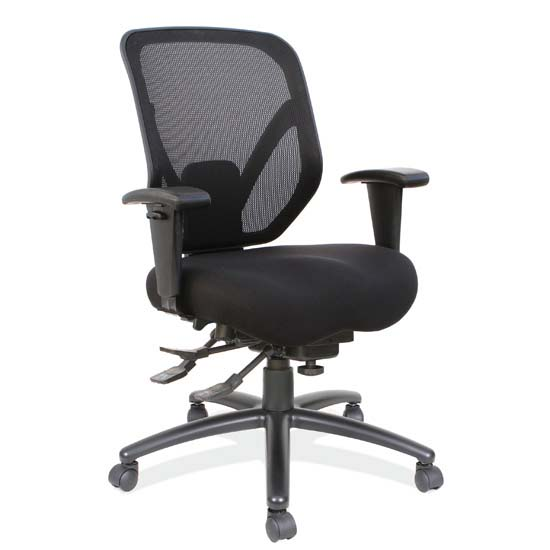 OfficeSource OS Big & Tall Collection Big and Tall High Back, Multi-Function Chair with Black Steel Base