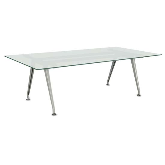 "6′ Rectangular Table with 0.5"" Thick Frosted Tempered Glass Top"