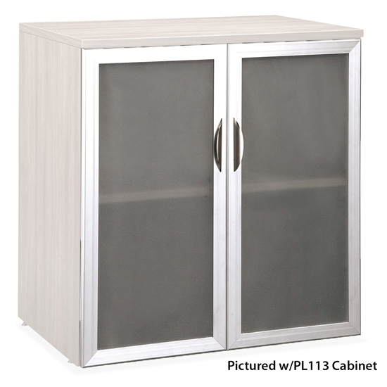 OfficeSource OS Laminate Collection Tempered Glass Silver Frame Cabinet Door For PL113
