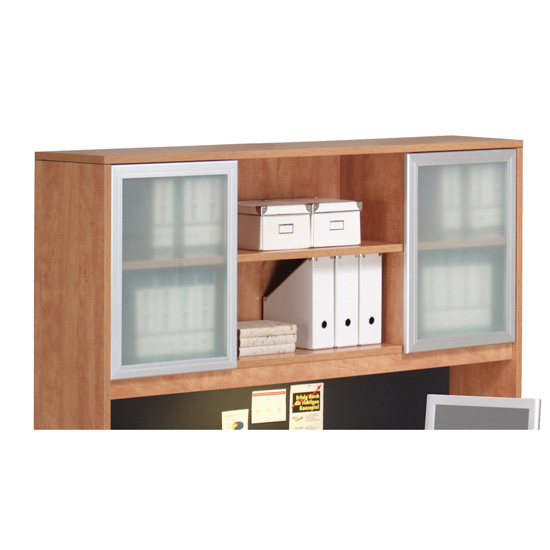 OfficeSource OS Laminate Collection Optional Silver Glass Hutch Doors