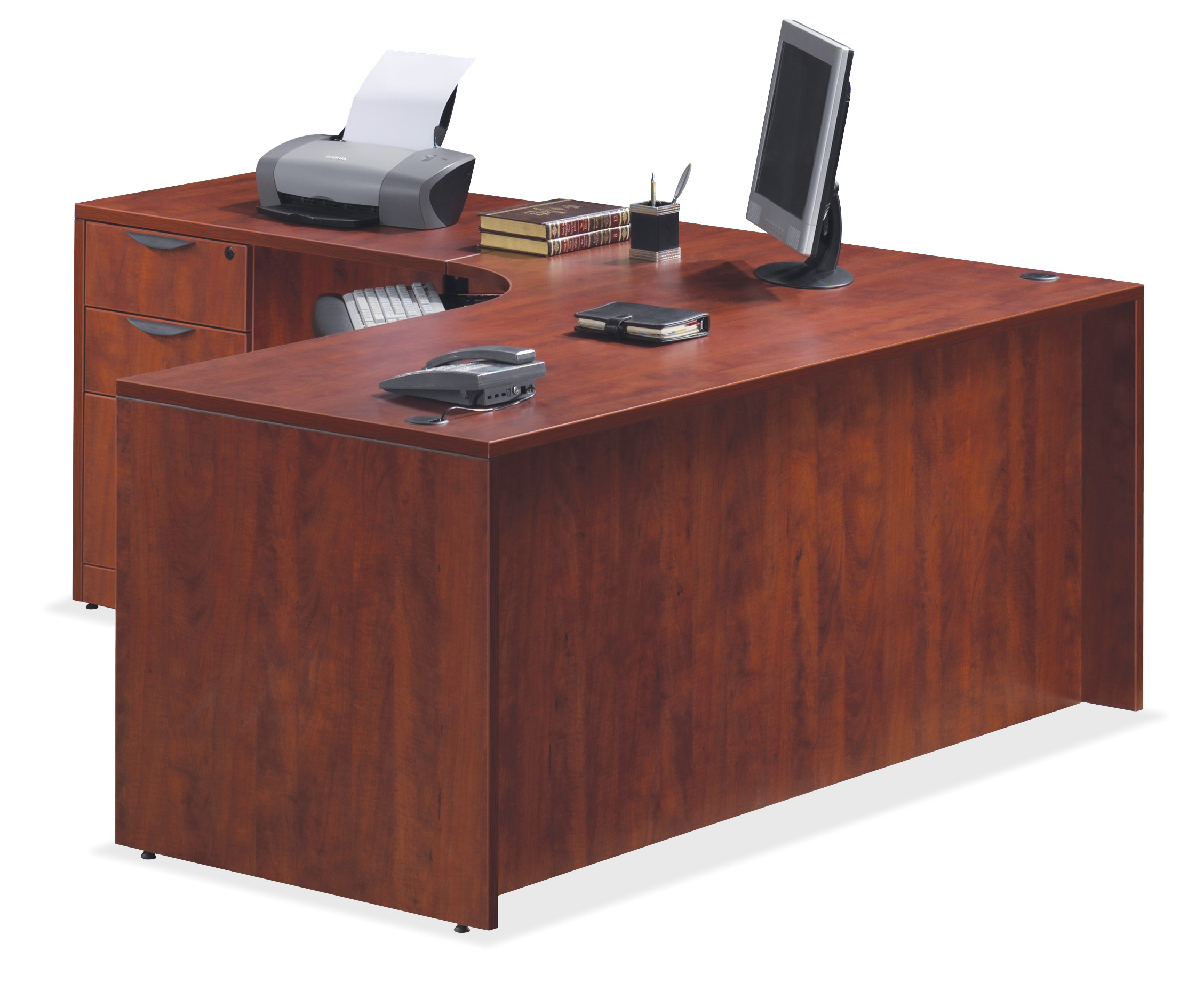 Straight Front Desk with Left Corner Extension