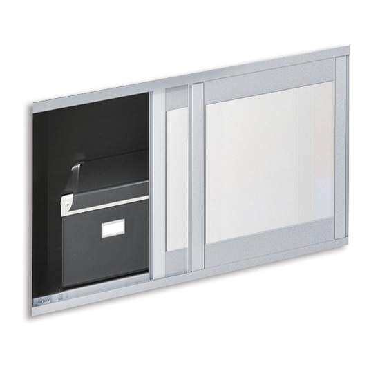 OfficeSource OS Laminate Collection Optional Sliding Glass Doors For PL144OH or PL208OH – Doors Only, Must Order Rails