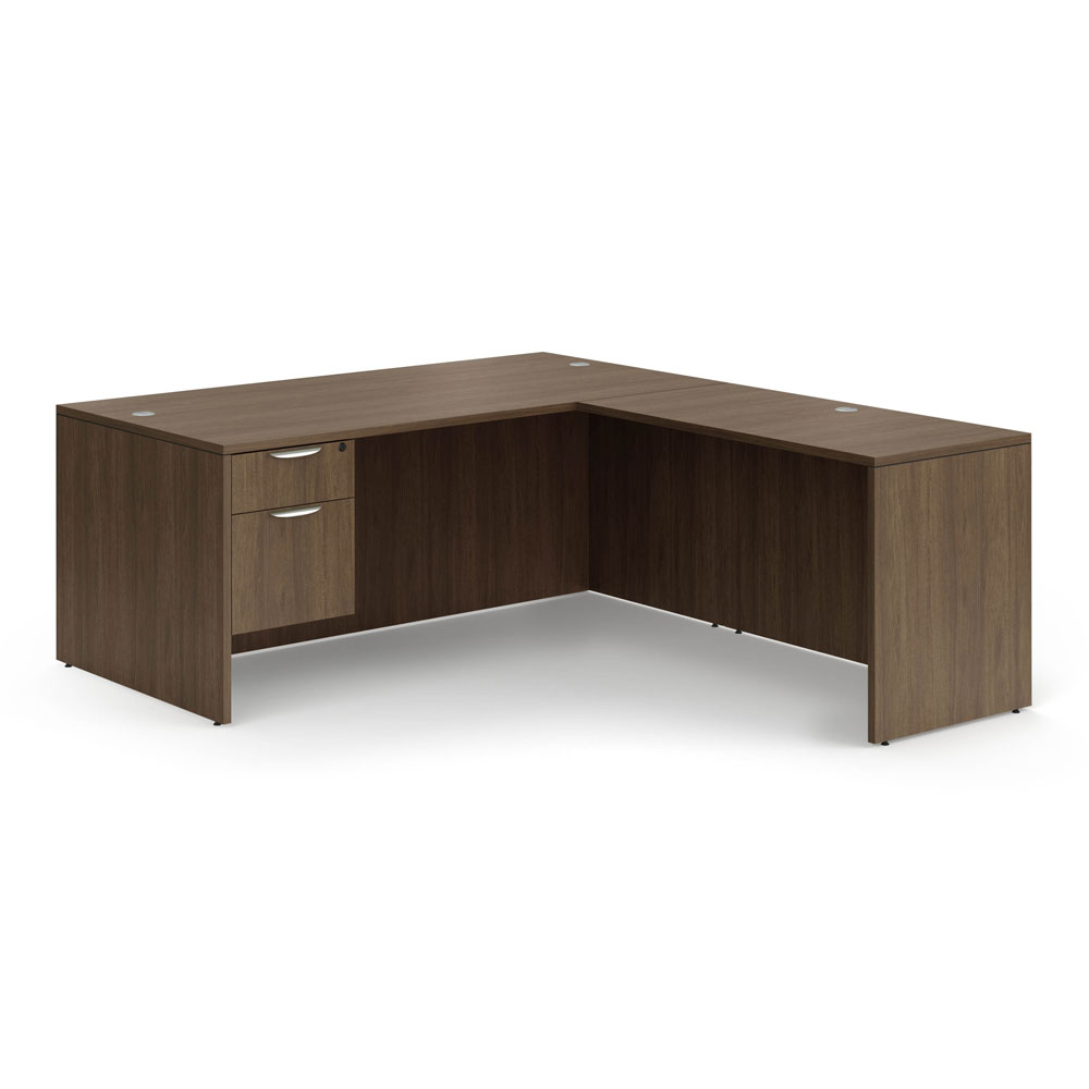 "OfficeSource OS Laminate Collection Single 3/4 Pedestal ""L"" Desk – 71"" x 30"""