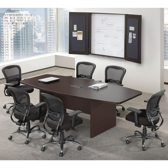Boat Shaped Conference Table with Slab Base