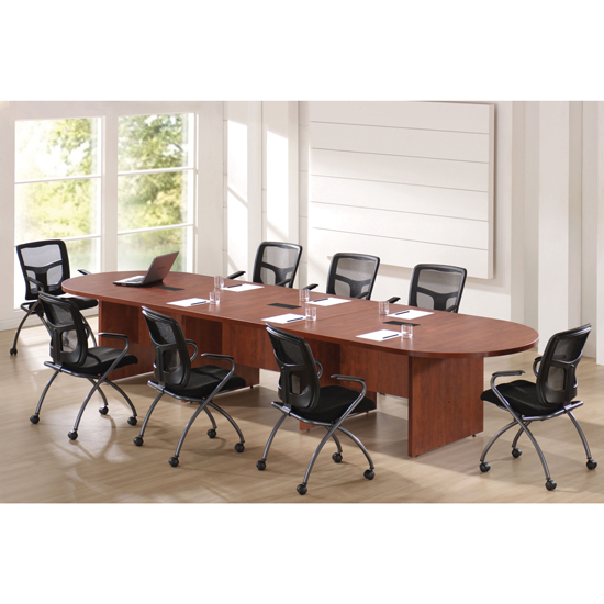OfficeSource OS Laminate Conference Tables – Expandable Racetrack Conference Table with Slab Base