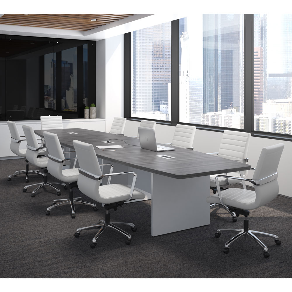 OfficeSource OS Laminate Conference Tables – Expandable Boat Shaped Conference Table with Slab Base