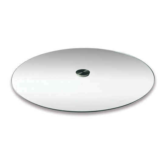"OfficeSource OS Reception Tables 24"" Round Clear Glass Top – Requires Base"