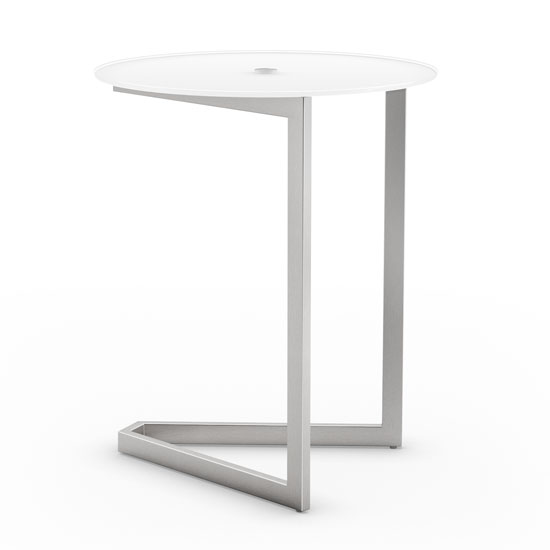 Steel Side Table with Glass Top