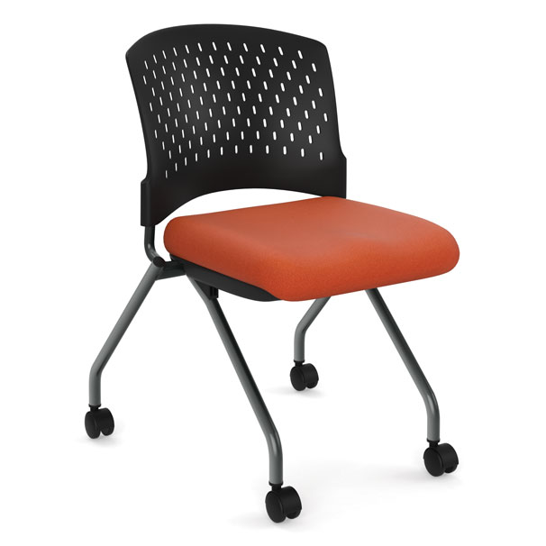Armless Nesting Chair with Casters, Titanium Frame