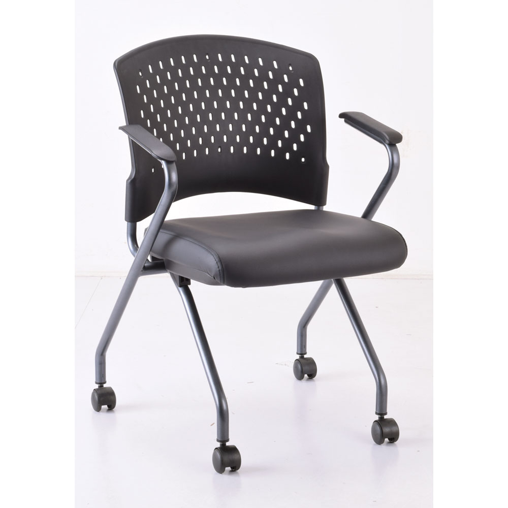 OfficeSource Perch Collection Nesting Chair with Arms and Casters, Titanium Frame