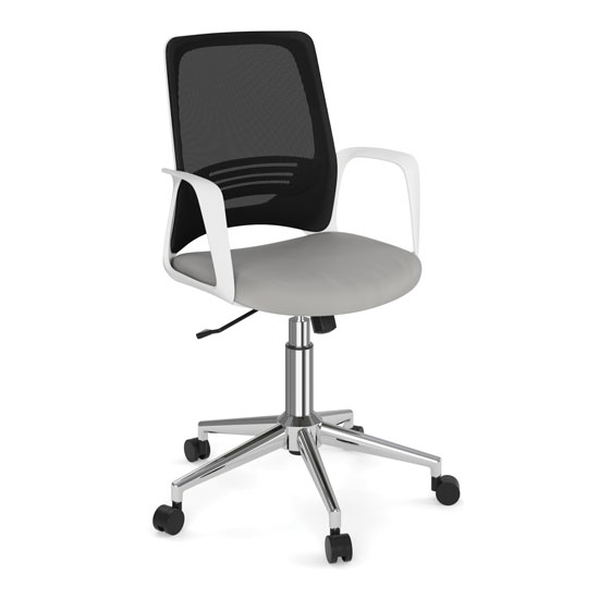 Mesh Back Task Chair with White Frame and Chrome Base