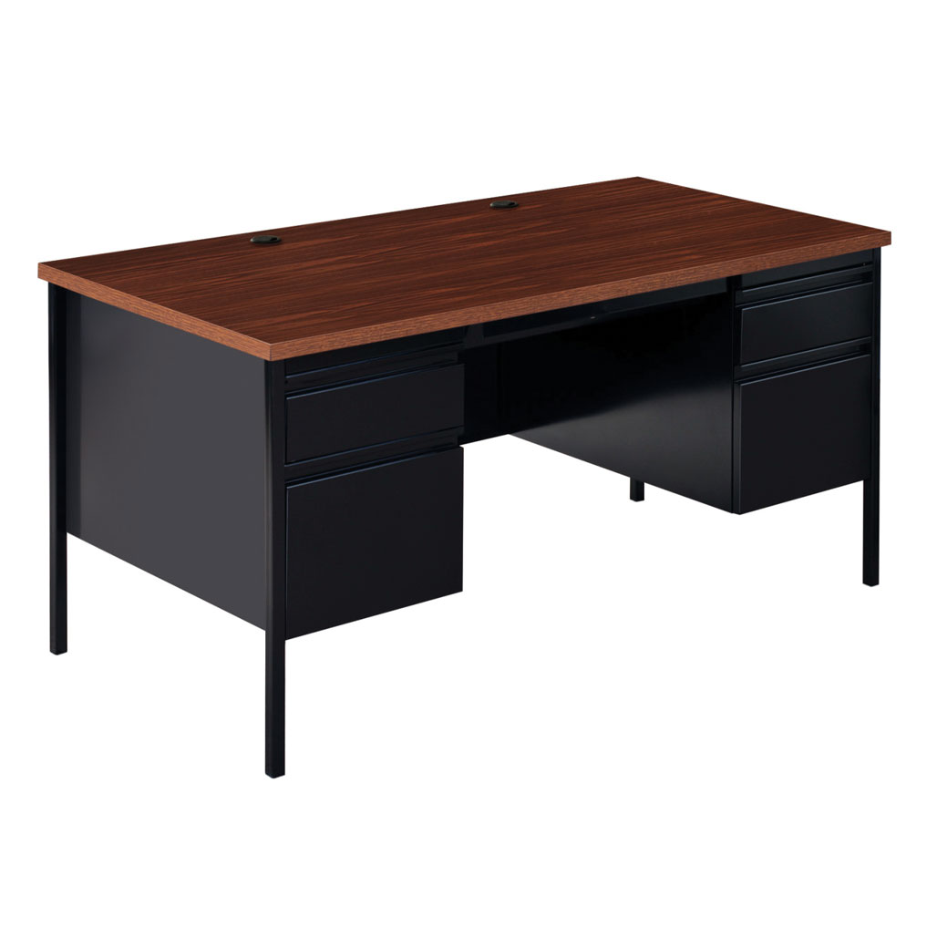 OfficeSource Raleigh Collection Double Pedestal Desk – 60″W x 30″D