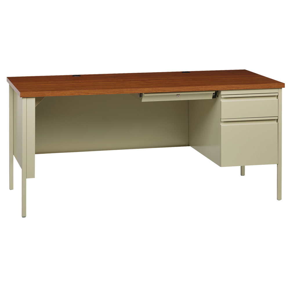 OfficeSource Raleigh Collection Right Hand, Single Pedestal Desk – 66″W x 30″D