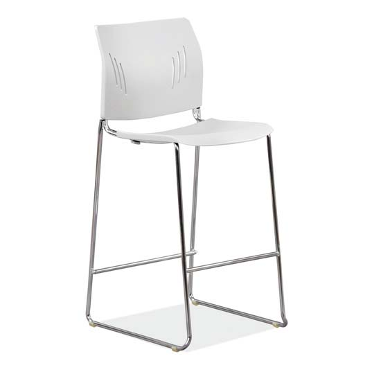 Polyurethane Stool with Footrest and Chrome Base