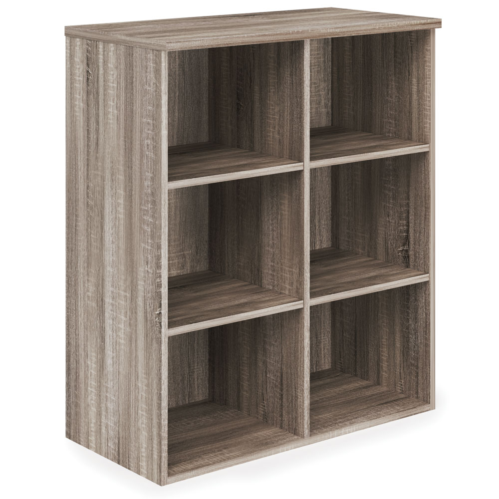 OfficeSource Riveted Collection Bookcase with Divided Shelves