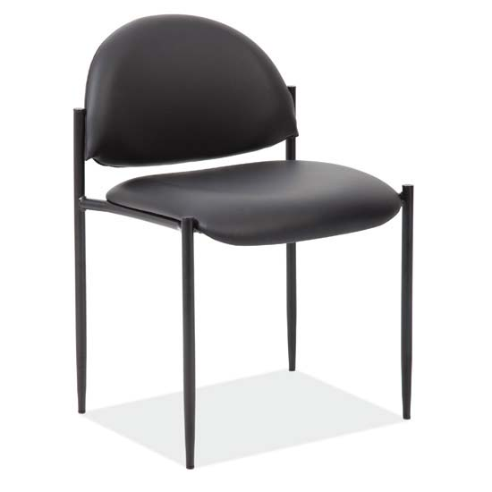 Armless Stacking Side Chair with Black Frame