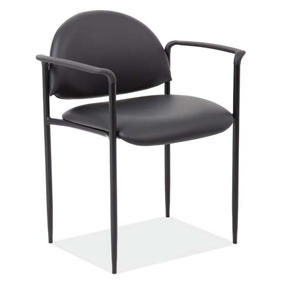 Stacking Side Chair with Arms and Black Frame