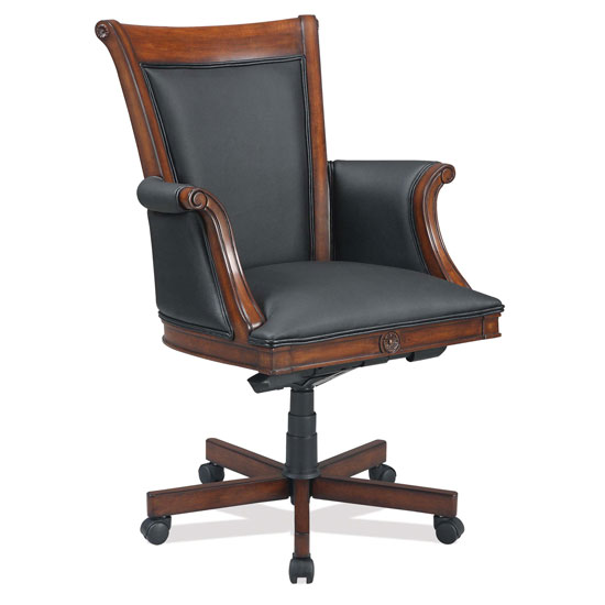Black Leather Executive High Back with Ruby Cabernet Frame