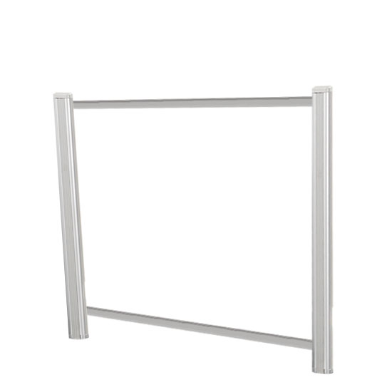OfficeSource SafeGuard Barrier Collection Borders Extended Screen with Clear Glass and Transaction Space – 48″W – (2 – 24″H Posts Included)