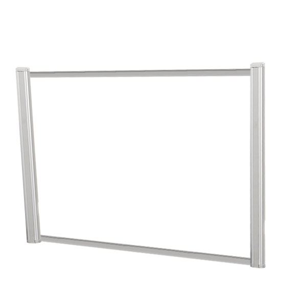 OfficeSource SafeGuard Barrier Collection Borders Extended Screen with Clear Glass and No Transaction Space – 60″W – (2 – 24″H Posts Included)