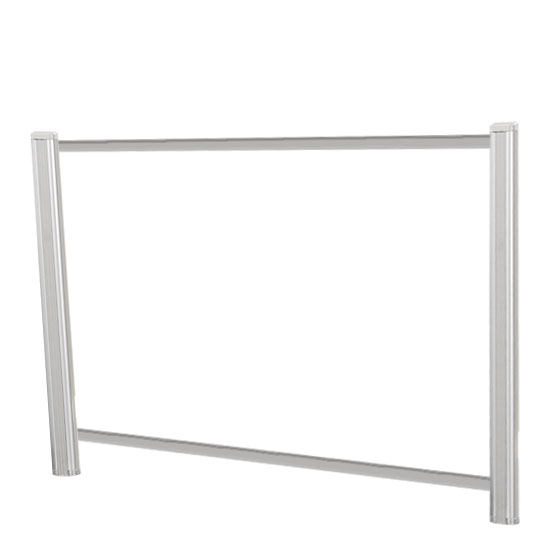 OfficeSource SafeGuard Barrier Collection Borders Extended Screen with Clear Glass and Transaction Space – 60″W – (2 – 24″H Posts Included)