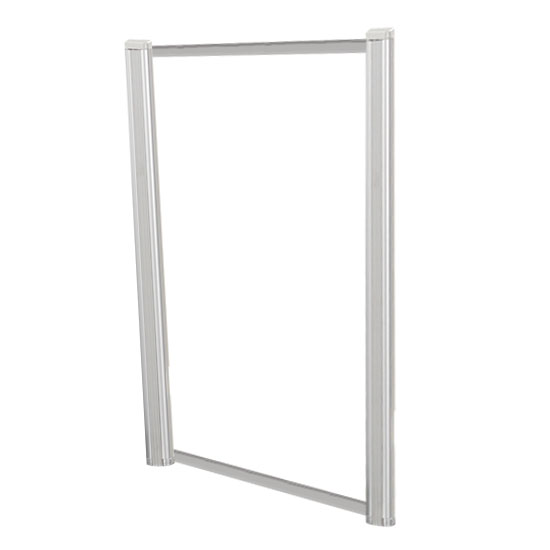 OfficeSource SafeGuard Barrier Collection Borders Extended Screen with Clear Glass and No Transaction Space – 30″W – (2 – 36″H Posts Included)