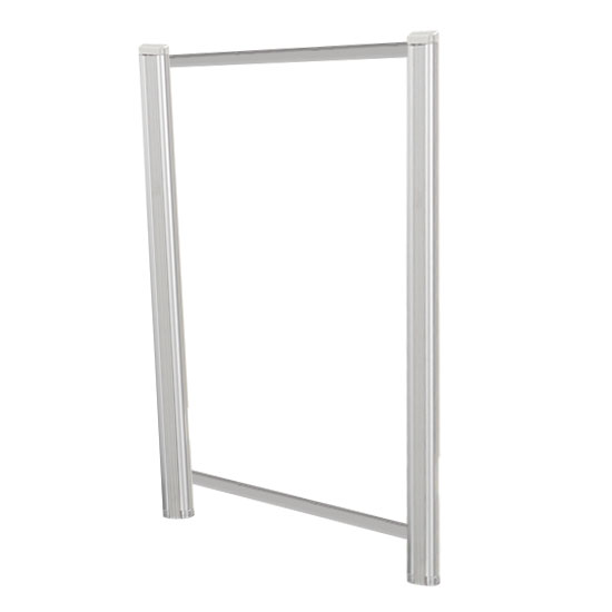OfficeSource SafeGuard Barrier Collection Borders Extended Screen with Clear Glass and Transaction Space – 30″W – (2 – 36″H Posts Included)