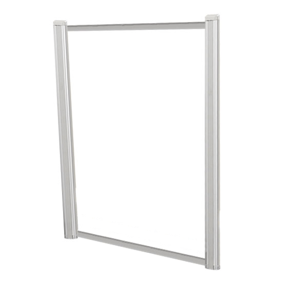 OfficeSource SafeGuard Barrier Collection Borders Extended Screen with Clear Glass and No Transaction Space – 36″W – (2 – 36″H Posts Included)